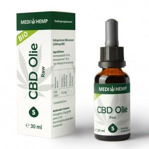 CBD olie Raw 5 % Medihemp 30 ml Biologisch